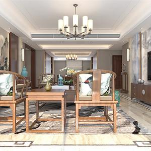 普通住宅-新中式-客厅-效果图