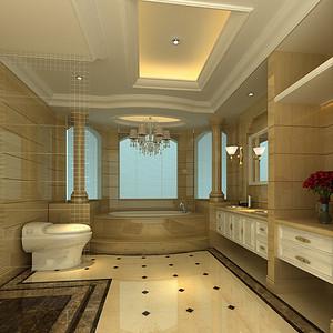 卫生装修效果图 欧式风格独栋别墅装饰