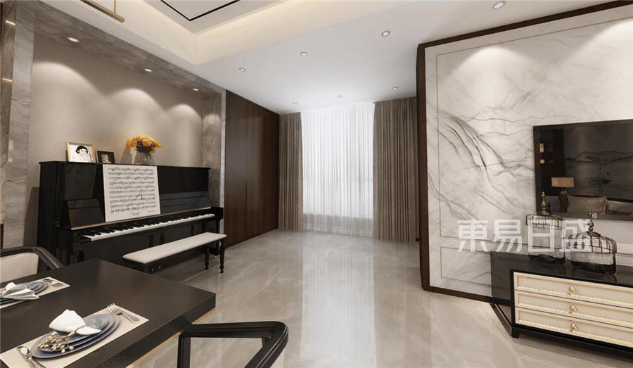 新中式客厅钢琴效果图效果图_2019装修案例图片-装饰