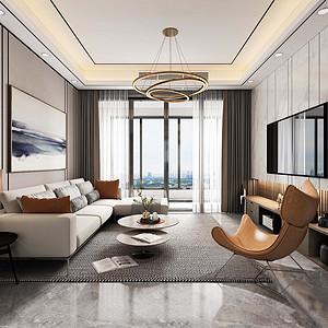 客厅装修效果图-现代轻奢风格装饰设计