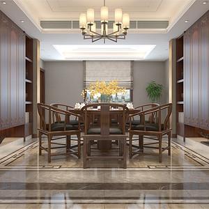 普通住宅-新中式-餐厅-效果图