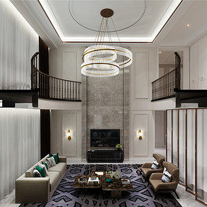 新古典风格客厅把护墙板的形式简化极致