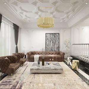 名湖豪庭法式风格客厅别墅装修效果图