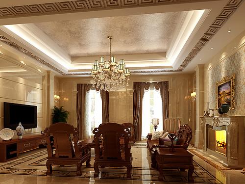 伊美豪爵华庭中西混搭风格案例效果图装修设计理念