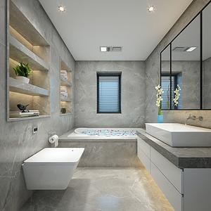 卫生间色彩以清洁感的冷色调为主,线灰色的瓷砖、白色的洗脸台,配上黑色的线框镜子