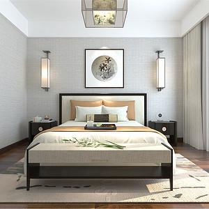普通住宅-新中式-次卧-效果图