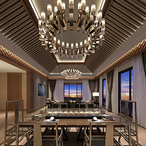 高尔夫别墅 新中式装修效果图 360平方米独栋别墅
