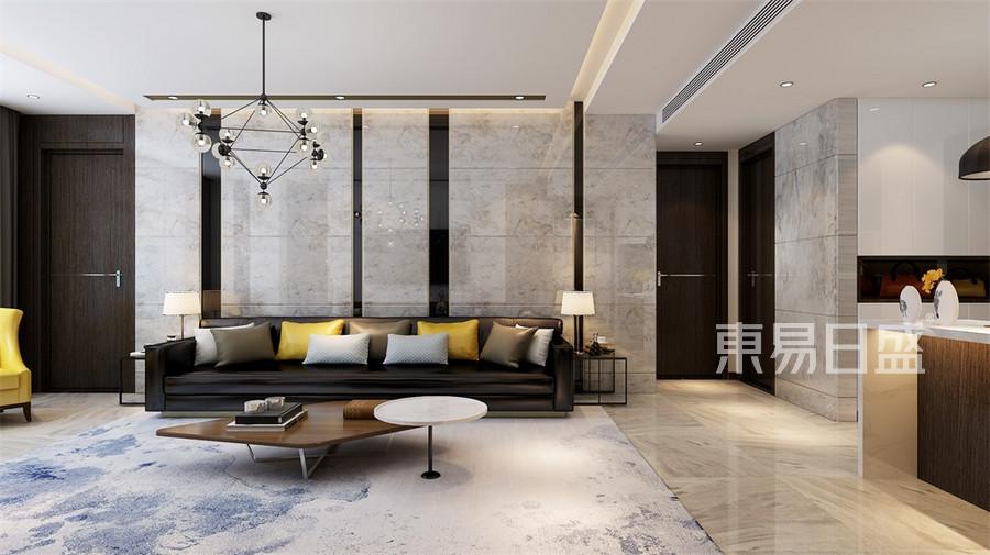 现代轻奢-客厅沙发背景墙效果图_2019装修案例图片图片