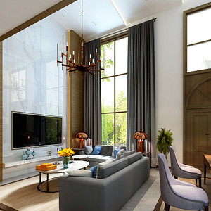 现代混搭客厅:多用棕灰色、米白色