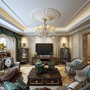 客厅现代的手法和材质还原古典气质