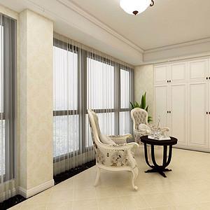 134㎡三居室简欧风格客厅阳台效果图