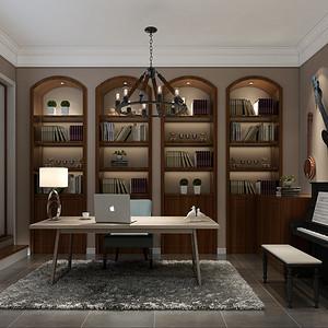 美式简约风格书房装修设计