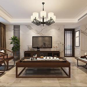鸿园·玉兰苑新中式风格340平米叠墅