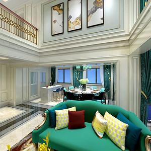 现代美式客厅+餐厅