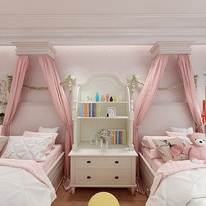 现代美式女儿房效果图