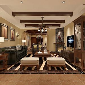兰桂花园美式风格客厅