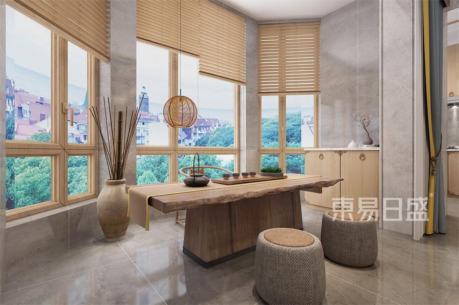 四居室-禅意中式-阳台休闲区-效果图