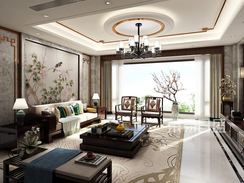 别墅新中式客厅装仹�b9��9f_400㎡别墅新中式风格客厅效果图