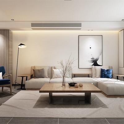 华润悦府160平米简欧沙发背景墙装修效果图