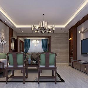 虎门御龙山装修效果图 160㎡四房二厅新中式风格装修案例