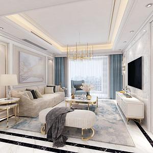 复地东湖国际现代欧式客厅装修效果图