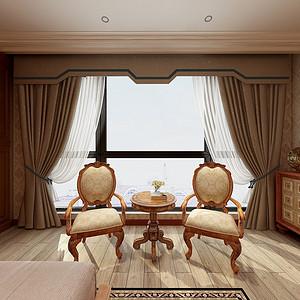 现代美式卧室效果图