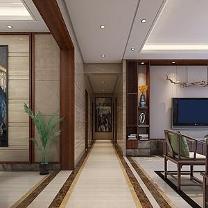 四房二厅新中式过道装修效果图