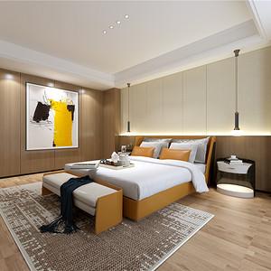 现代风格卧室整洁的木地板