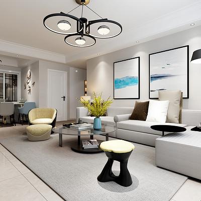 首开国风琅樾三室两厅现代简约沙发背景墙装修效果图
