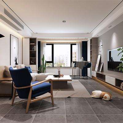 華潤悅府三室兩廳簡歐客廳裝修效果圖