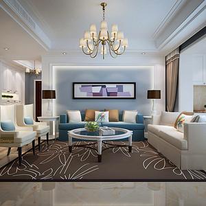 港铁天颂 简欧风格 156平米 两室一厅 装修效果图