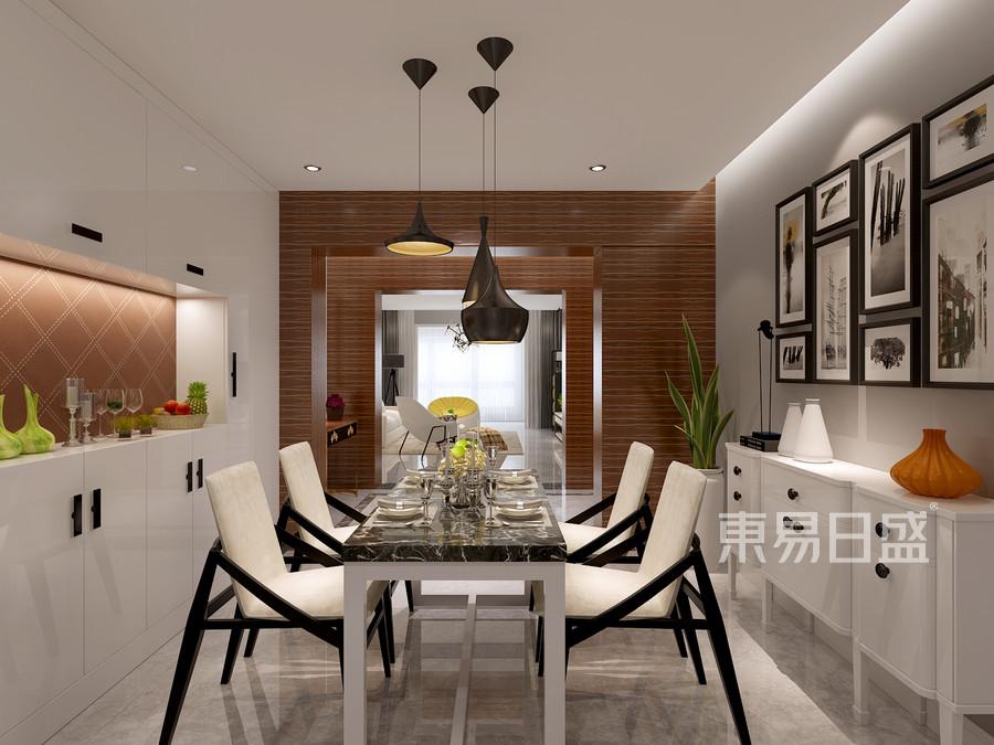 餐厅简洁明了,大理石的地面给空间