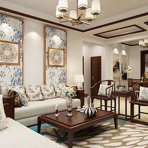 陇能家园-131平米-新中式风格装修案例效果图