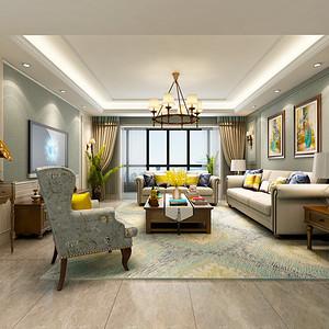 紫薇永和坊 现代美式风格装修效果图 四室二厅 200㎡