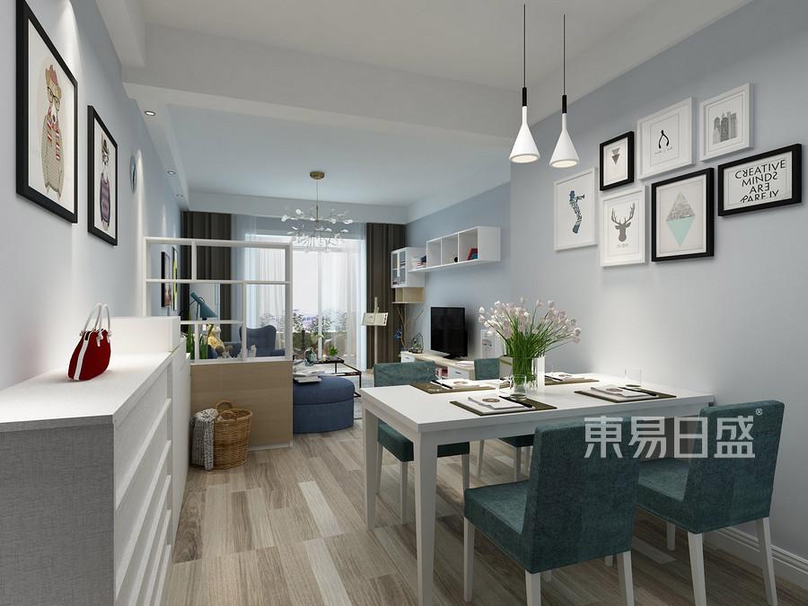 138㎡三居室现代简约风格餐厅装修效果图