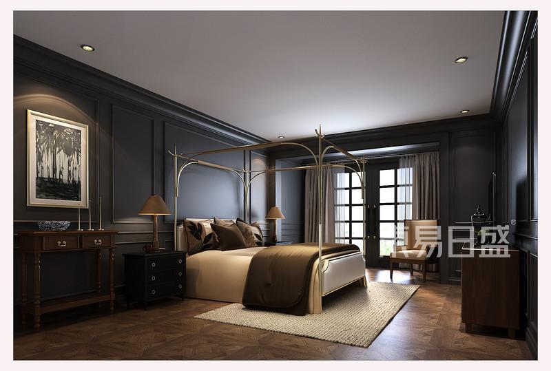 首页 室内装修效果图 > 蓝灰色护墙板与铁艺床架搭配出精致典雅