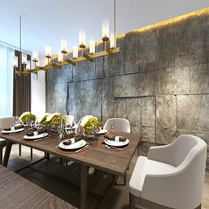 现代简约餐厅:石材背景墙映入眼帘