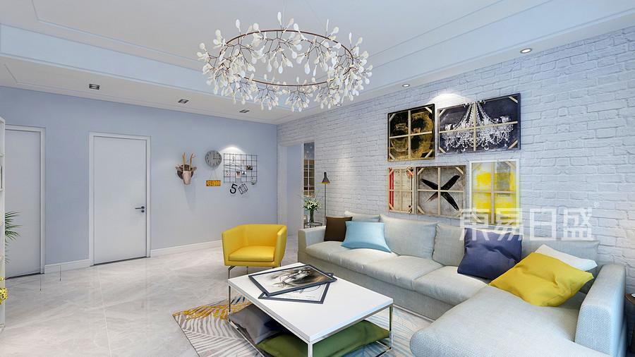 140㎡三居室北欧风格客厅装修效果图