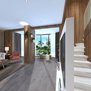 现代简约客厅:电视背景与楼梯结合