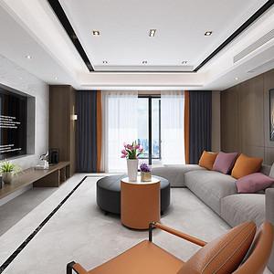 江山万里208平米两居室现代简约