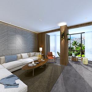 现代简约客厅:整体色调以灰色系为主
