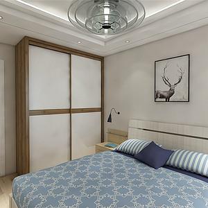北欧风卧室:胡桃木墙板与衣柜