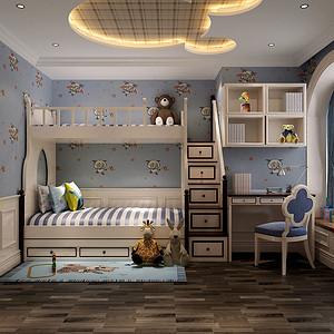 120㎡三居室欧式风格儿童房效果图