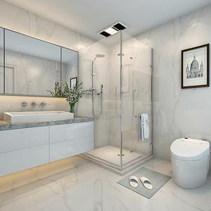卫生间整体以浅灰色的砖来体现清新,简洁而不失优雅,浴室,马桶,台盆,都是独立性