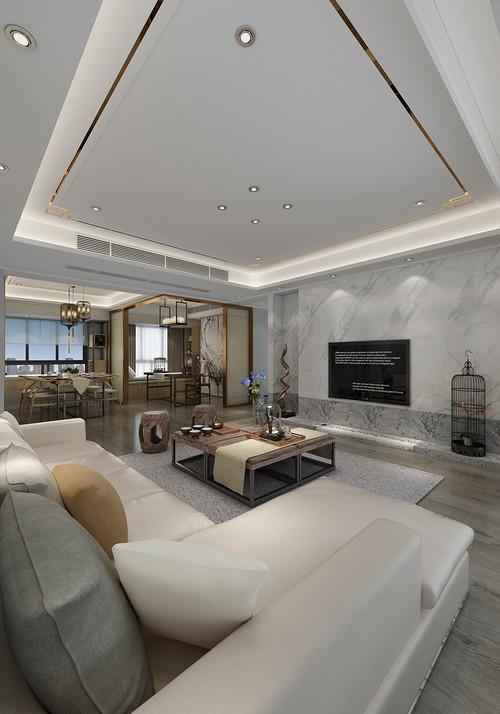 博林天瑞 新中式装修效果图 168平米三居室