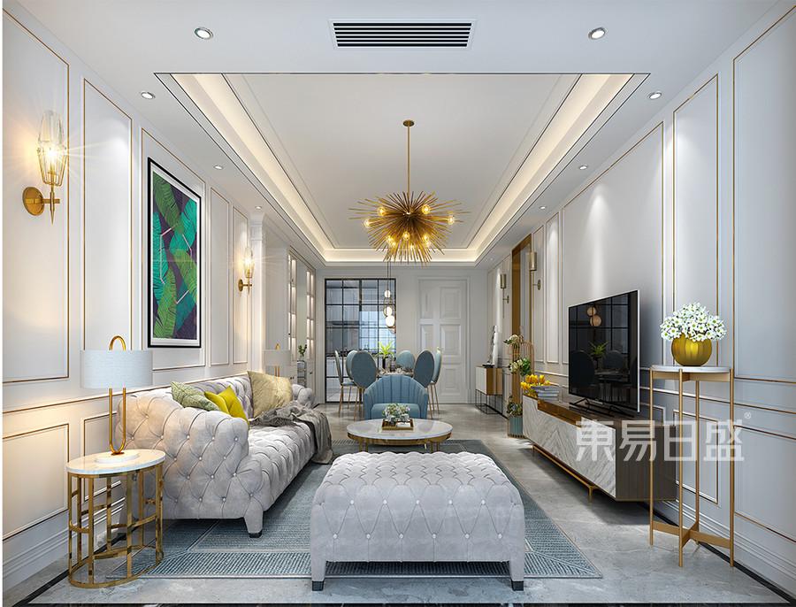 保利江上明珠+美式轻奢客厅装修效果图