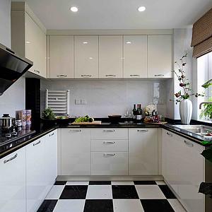 110㎡三居室样板间新中式厨房效果图