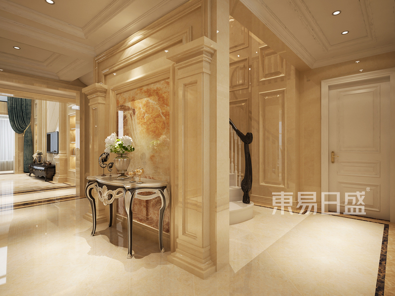 首页 室内装修效果图 > 门厅 中式照壁的形式用欧式的元素来做