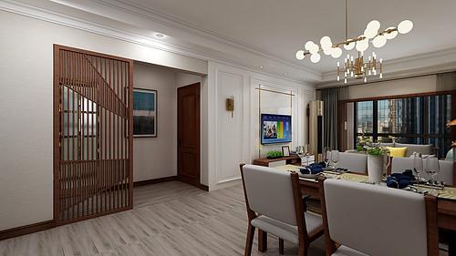 中海广场-118平米-新中式风格三室两厅装修效果图