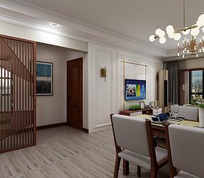 中海广场-新中式风格-客厅效果图
